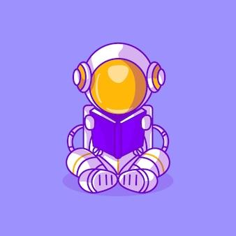 L'astronaute mignon a lu une illustration d'icône de livre