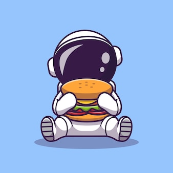 Astronaute mignon manger burger cartoon vector icon illustration. icône de nourriture spatiale