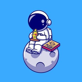 Astronaute mignon manger une pizza sur l'illustration de dessin animé de lune. concept de nourriture scientifique isolé. style de bande dessinée plat