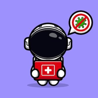 Astronaute mignon avec mascotte de kit médical