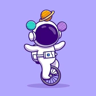 Astronaute mignon avec monocycle vélo et planètes cartoon vector illustration. concept de technologie de personnes vecteur isolé. style de bande dessinée plat