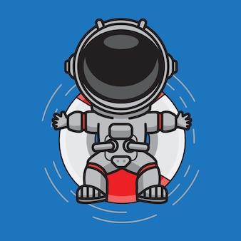 Astronaute mignon nageant l'été