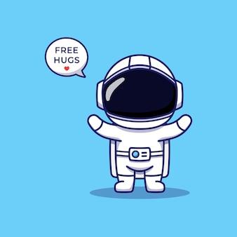 Astronaute mignon offrant un câlin gratuit