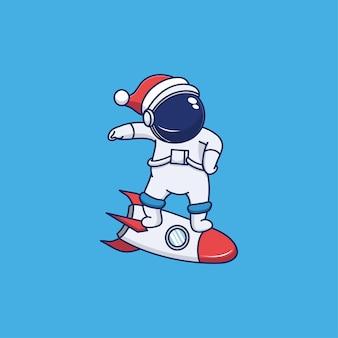 Astronaute mignon portant un chapeau de noël et chevauchant une fusée
