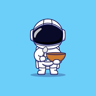 Astronaute mignon portant une cuillère et un bol