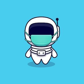 Astronaute mignon portant dessin animé de masque. style de bande dessinée plat