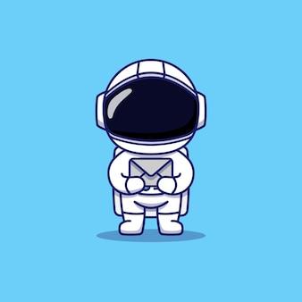 Astronaute mignon portant une lettre grise