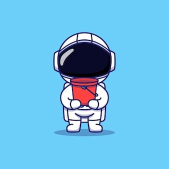 Astronaute mignon portant un seau