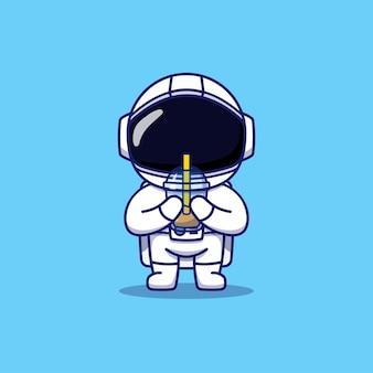 Astronaute mignon portant une tasse de café