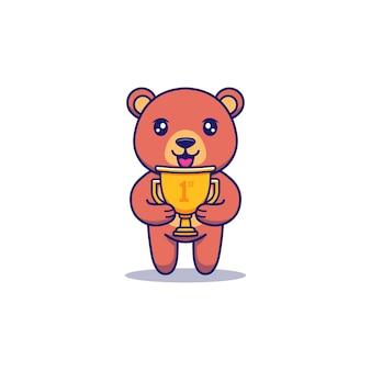 Astronaute mignon portant le trophée d'or