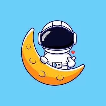 Astronaute mignon posant la main de l'amour