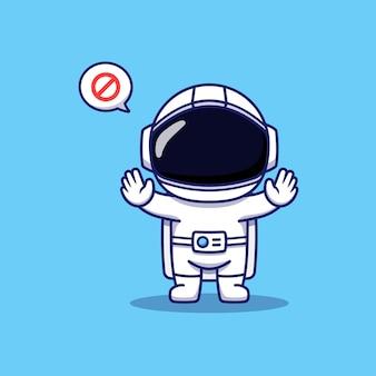 Astronaute mignon posant les mains interdire
