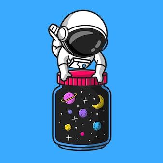 Astronaute mignon avec pot de galaxy space cartoon vector icon illustration. concept d'icône de l'espace de la technologie isolé vecteur premium. style de dessin animé plat