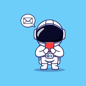 Astronaute mignon recevant un message sur son smartphone