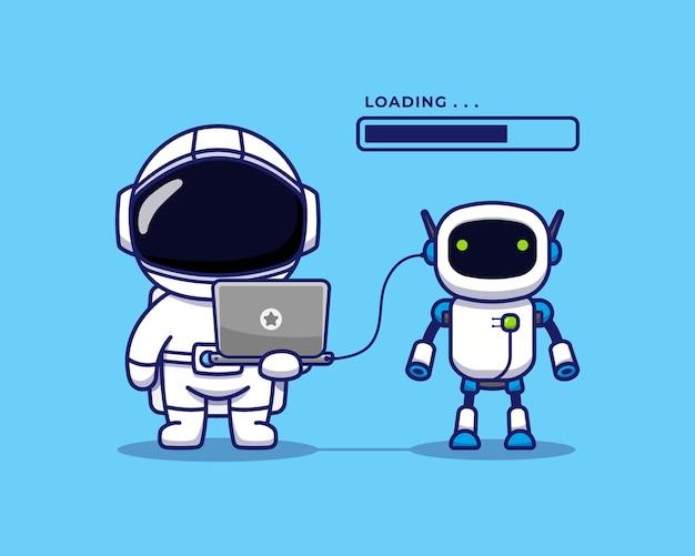 Astronaute mignon avec robot spatial