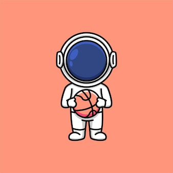 Astronaute mignon tenant illustration de dessin animé de basket-ball