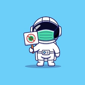 Astronaute mignon transportant un signe de coronavirus de combat