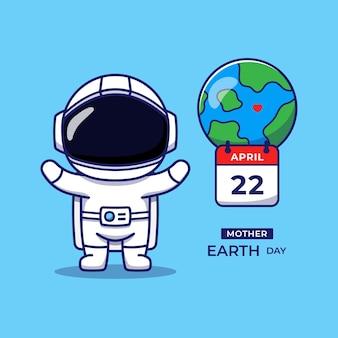 Astronaute mignon avec voeux de jour de la terre mère