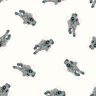 Astronaute en modèle sans couture de combinaison spatiale. cosmonaute dans l'espace sur fond blanc. illustration colorée.