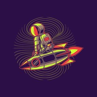 Astronaute monter la fusée sur le côté illustration de la fusée
