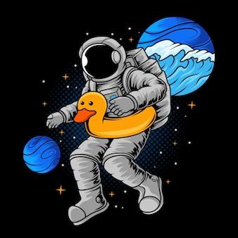 Astronaute nageant dans l'espace