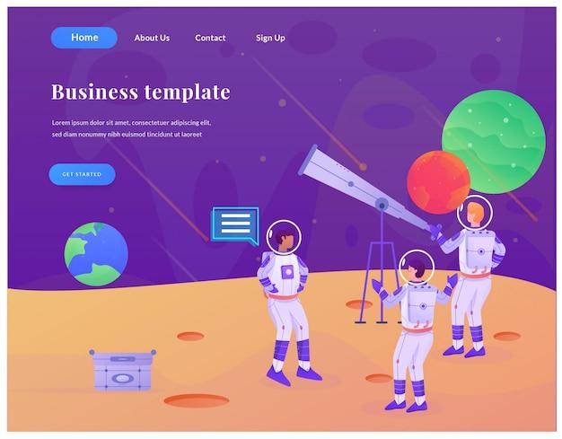 Astronaute de page de destination web entreprise