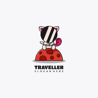 L'astronaute panda rouge mascotte logo design vector illustration