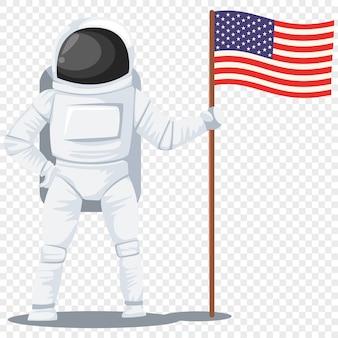 Astronaute avec un personnage de dessin animé de drapeau américain isolé transparent