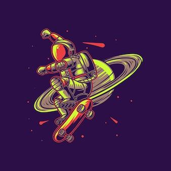 Astronaute avec planche à roulettes planète