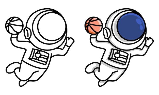 Astronaute plongeant dans le basket-ball coloriage pour les enfants