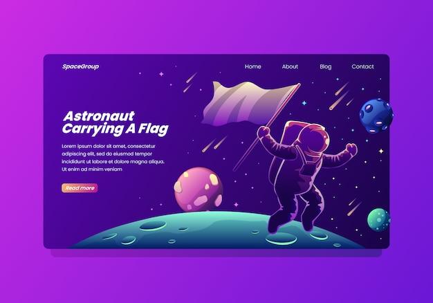 Astronaute portant une page d'atterrissage de drapeau