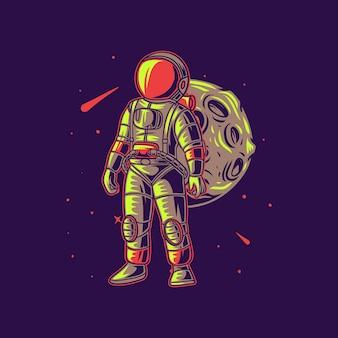 Astronaute portant un sac contre l & # 39; illustration de l & # 39; aventure de la lune