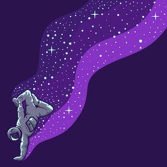 Astronaute s'amusant isolé sur violet