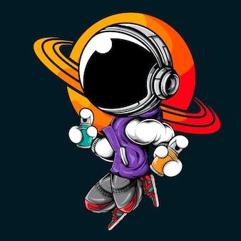 Astronaute sautant avec de la peinture en aérosol