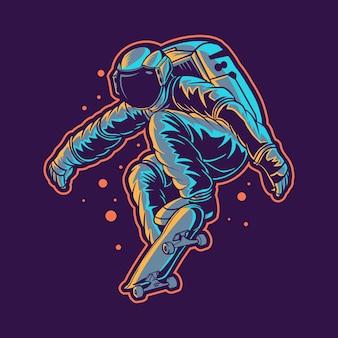 Astronaute saute avec skateboard