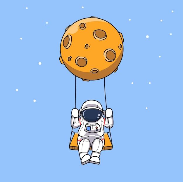 Astronaute se balançant sur la balançoire de la planète