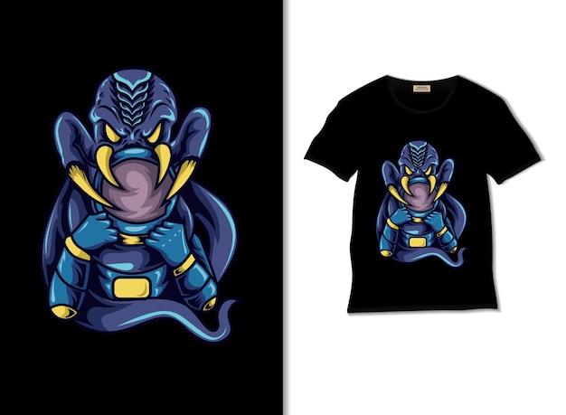 L'astronaute se bat avec une illustration de monstre avec un design de t-shirt