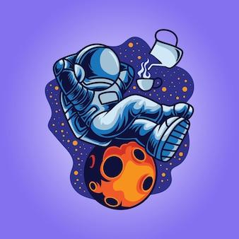 L'astronaute se détend en buvant du café illustration