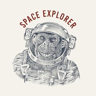 Astronaute de singe dans une étiquette de combinaison spatiale. spaceman chimpanzé habillé en costume. caractère animal de mode. croquis dessiné à la main.