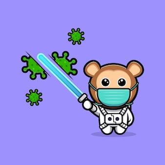 Astronaute de singe mignon tuant le virus avec la mascotte de dessin animé d'épée laser