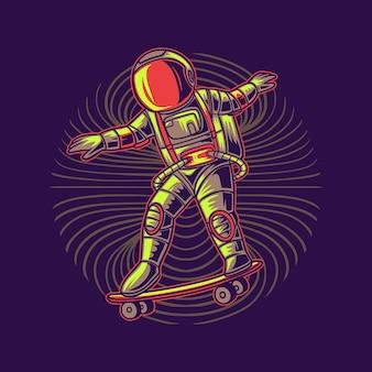 Astronaute avec skateboard spatial