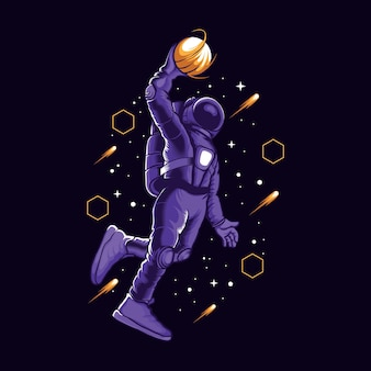 L'astronaute slamdunk dans l'illustration de l'espace