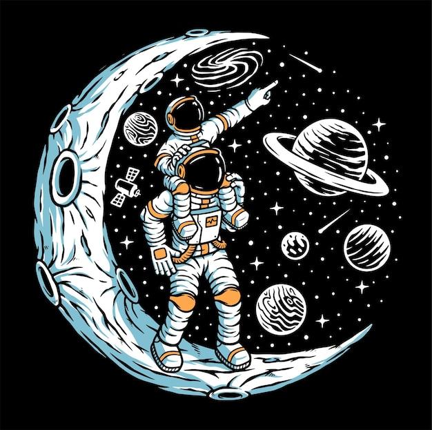 Astronaute et son fils sur l'illustration de la lune