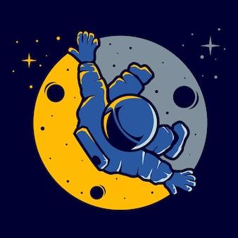 Astronaute avec un style drôle de vol stationnaire
