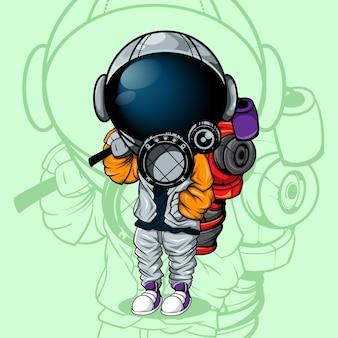 L'astronaute avec un style urbain et une grande peinture en aérosol dans le dos