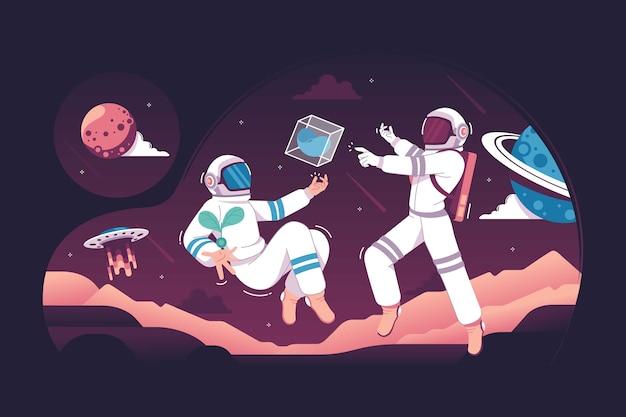 Astronaute avec de superbes plans de construction de la ville de mars