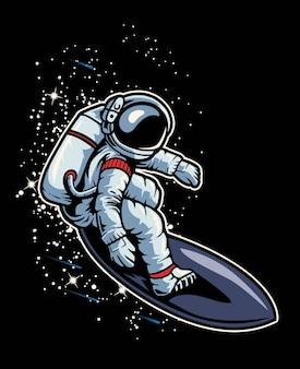Astronaute surfant dans l'espace