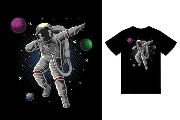 Astronaute tamponnant dans l'illustration de l'espace avec un vecteur premium de conception de tshirt