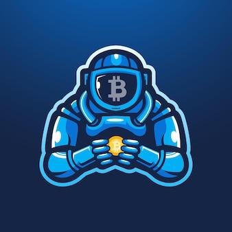 Astronaute tenant bitcoin mascotte logo design illustration vecteur
