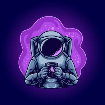 Astronaute tenant une illustration de papillon